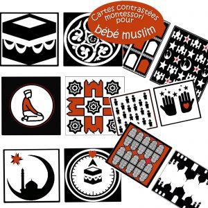cartes contrastées montessori pour petit muslim